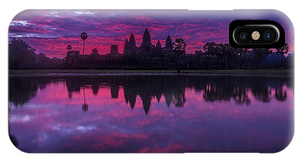 Cambodia iPhone Case - Sunrise Angkor Wat Reflection by Mike Reid