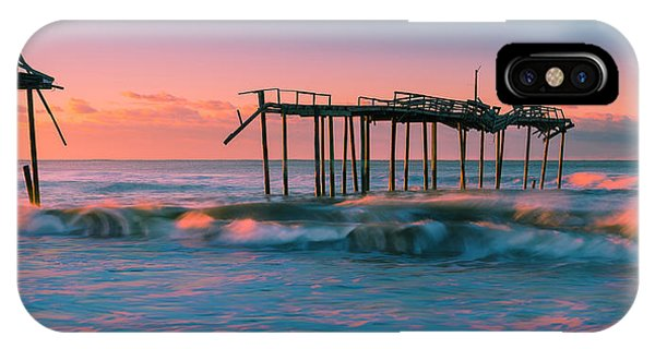 IPhone Case featuring the photograph Sunrise At Outer Banks Fishing Pier In North Carolina Panorama by Ranjay Mitra