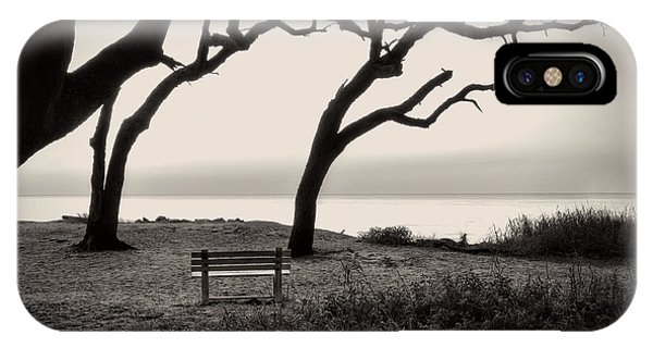 IPhone Case featuring the photograph Sunrise At The Bench In Black And White by Greg Mimbs