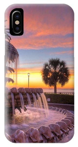 Pineapple iPhone Case - Sunrise Charleston Pineapple Fountain  by Dustin K Ryan