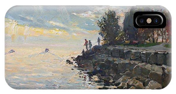 Shore iPhone Case - Sunrise Fishing by Ylli Haruni