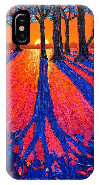 Sunrise In Glory - Long Shadows Of Trees At Dawn IPhone Case