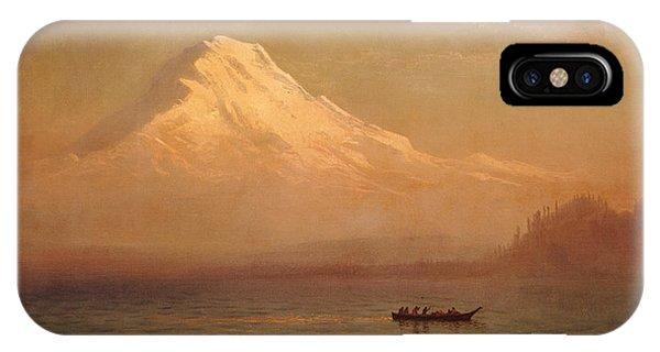 Mountainous iPhone Case - Sunrise On Mount Tacoma  by Albert Bierstadt