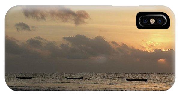 Exploramum iPhone Case - Sunrise On The Beach With Wooden Dhows by Exploramum Exploramum
