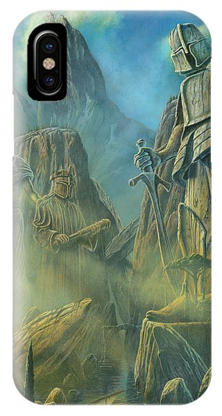 IPhone Case featuring the painting Sunrise On The Colossi At Numenor by Kip Rasmussen