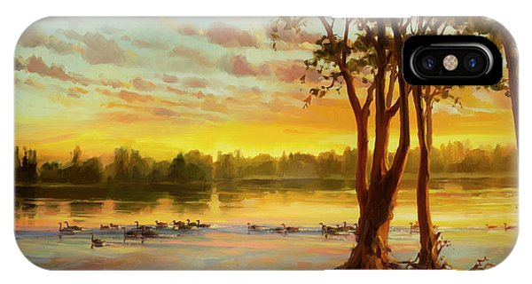 River iPhone Case - Sunrise On The Columbia by Steve Henderson