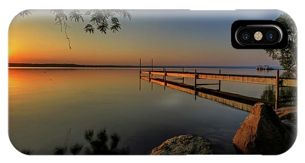 Docked Boats iPhone Case - Sunrise Over Cayuga Lake by Everet Regal