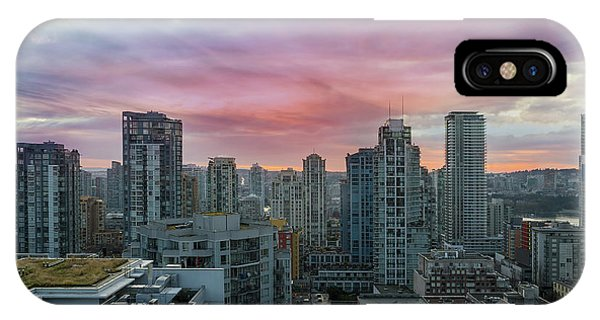 iPhone Case - Sunrise Over Downtown Vancouver Bc by David Gn