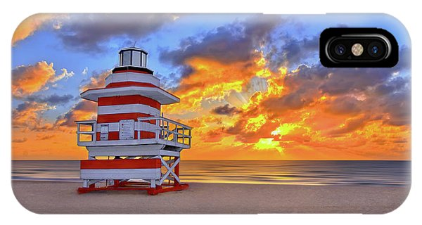 Sunrise Over Lifegaurd Stand On South Miami Beach  IPhone Case