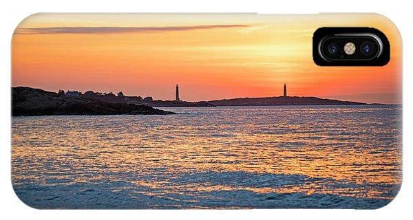Sunrise Over Thacher Island From Long Beach In Gloucester Ma Golden Sunrise IPhone Case