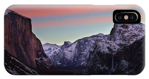 Sunrise Over Yosemite Valley In Winter IPhone Case