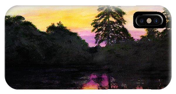 Sunrise Pond Maryland Landscape Original Fine Art Painting IPhone Case