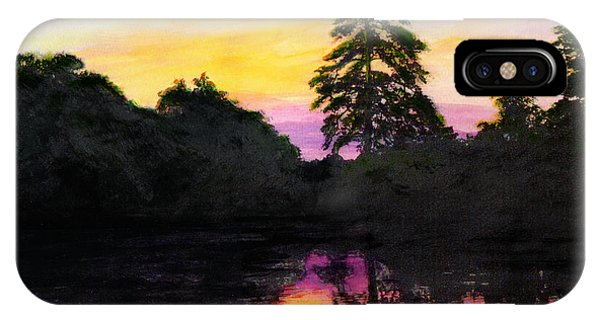 Sunrise Pond Maryland Landscape Original Fine Art Painting IPhone Case