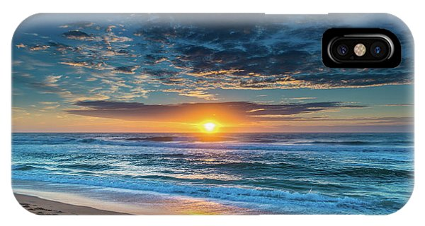 Sunrise Seascape With Footprints In The Sand IPhone Case