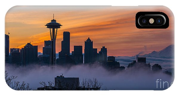 Downtown Seattle iPhone Case - Sunrise Seattle Skyline Above The Fog by Mike Reid