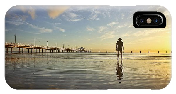 Sunrise Silhouette Down By The Pier. IPhone Case