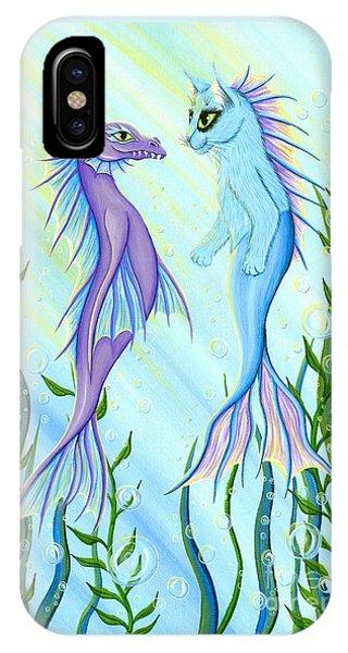 Sunrise Swim - Sea Dragon Mermaid Cat IPhone Case