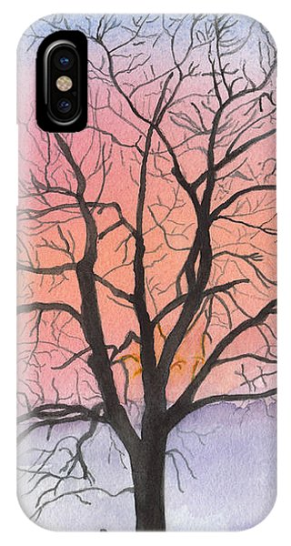 Sunrise Walnut Tree 2 Watercolor Painting IPhone Case
