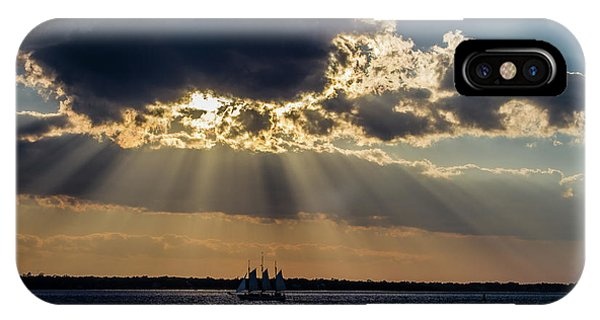 Sunset And A Three Masted Schooner IPhone Case