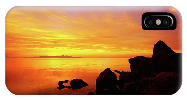Waterscape iPhone Case - Sunset And Fire by Chad Dutson