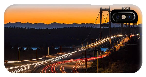 Sunset And Streaks Of Light - Narrows Bridges Tacoma Wa IPhone Case