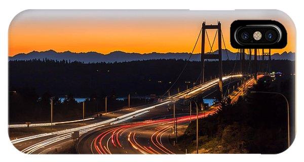Sunset And Streaks Of Light - Narrows Bridges Tacoma Wa IPhone Case