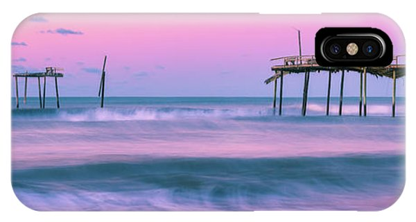 IPhone Case featuring the photograph Sunset At Frisco Fishing Pier Panorama by Ranjay Mitra