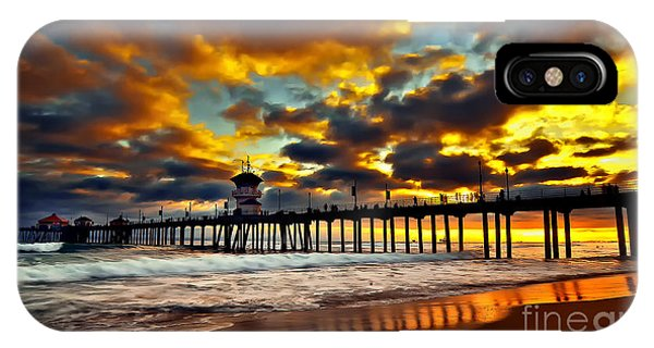 Sunset At Huntington Beach Pier IPhone Case