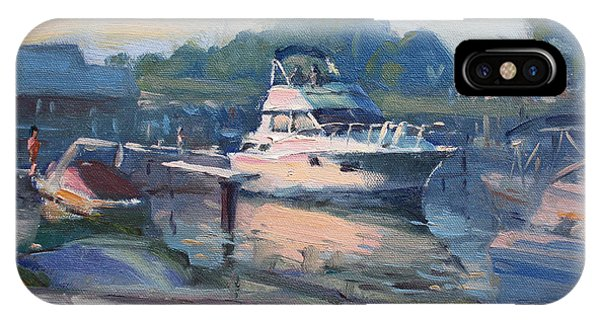 Waterscape iPhone Case - Sunset At Kellys And Jassons Boat by Ylli Haruni