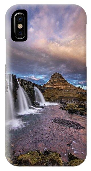 Sunset At Kirkjufellsfoss IPhone Case