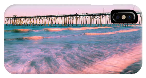 IPhone Case featuring the photograph Sunset At Kure Beach Fishing Pier Panorama by Ranjay Mitra