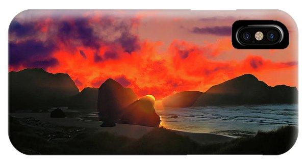 Sunset At Oregon Beach IPhone Case
