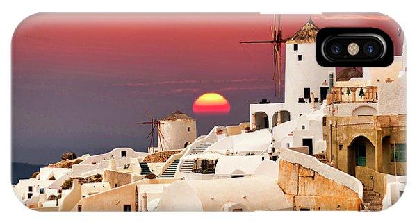 sunset at Santorini IPhone Case