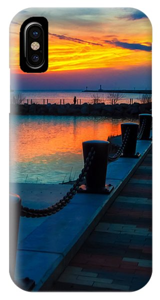 Sunset At The Lorain Lighthouse In Ohio IPhone Case