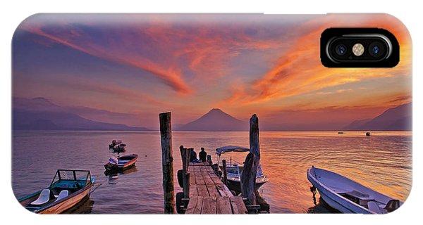 Sunset At The Panajachel Pier On Lake Atitlan, Guatemala IPhone Case