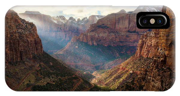 IPhone Case featuring the photograph Sunset At Zion Canyon Overlook by Owen Weber
