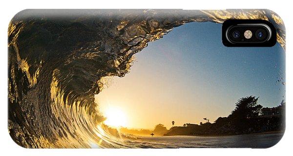 Sunset Barrel Wave On Beach IPhone Case