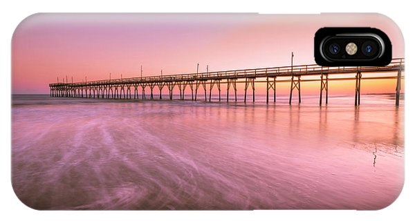 IPhone Case featuring the photograph Sunset Beach Fishing Pier In The Carolinas At Sunset by Ranjay Mitra