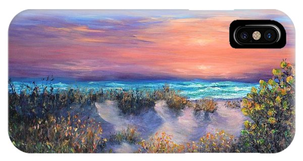 Sunset Beach Painting With Walking Path And Sand Dunesand Blue Waves IPhone Case