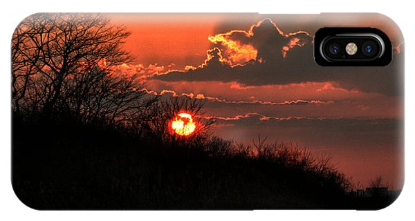 IPhone Case featuring the photograph Sunset Behind A Knoll by William Selander