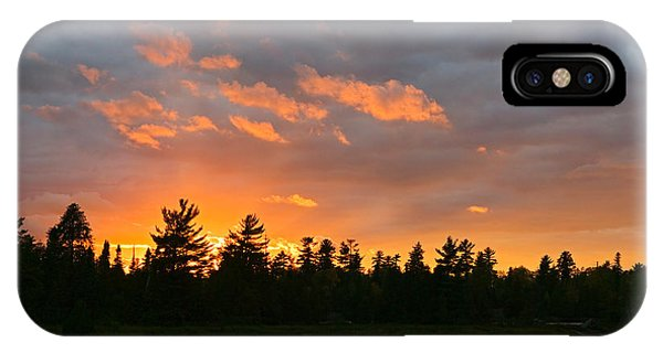 Sunset Behind Silhouetted Forest, Lake IPhone Case