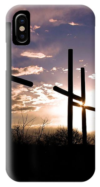 Sunset Behind The Cross Phone Case by Tim Abshire