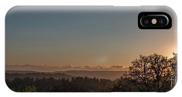 Sunset Behind Tree With Forest And Mountains In The Background IPhone Case