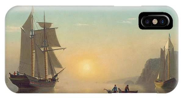 Boats iPhone Case - Sunset Calm In The Bay Of Fundy by William Bradford