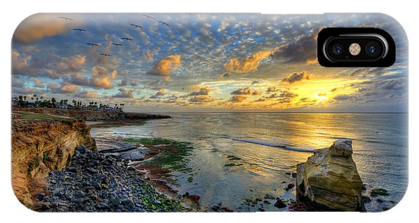 Sunset Cliffs With Brown Pelicans IPhone Case