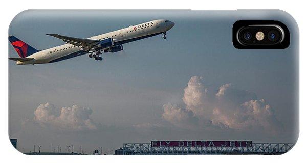 Alitalia iPhone Case - Sunset Glow Delta Airlines Jet N839mh Hartsfield Jackson International Airport Art by Reid Callaway