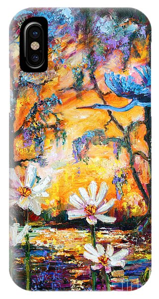 Sunset Heron Over Lotus Pond IPhone Case