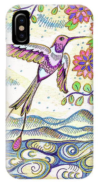 Humming Bird iPhone Case - Sunset  Hummingbird by Eva Campbell