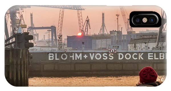 Sunset In Hamburg Port Germany IPhone Case