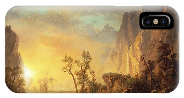 Sun iPhone Case - Sunset In The Rockies by Albert Bierstadt